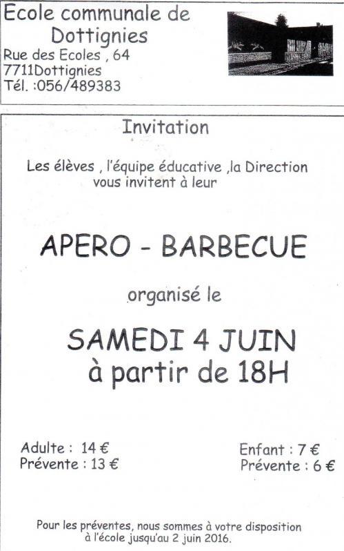 Apero/Barbecue Ecole Communale 2016
