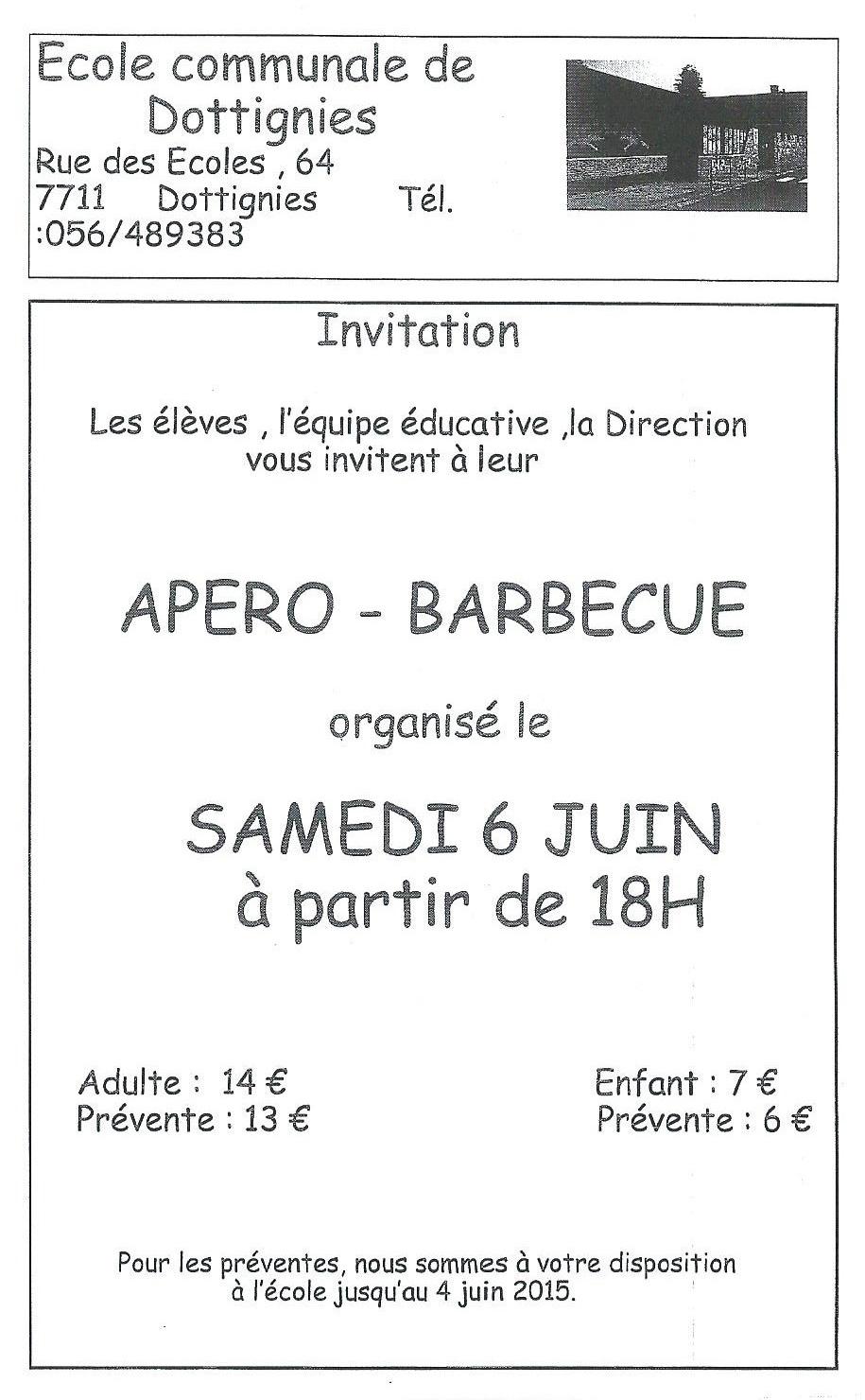 Apéro & Barbecue de l'Ecole Communale de Dottignies