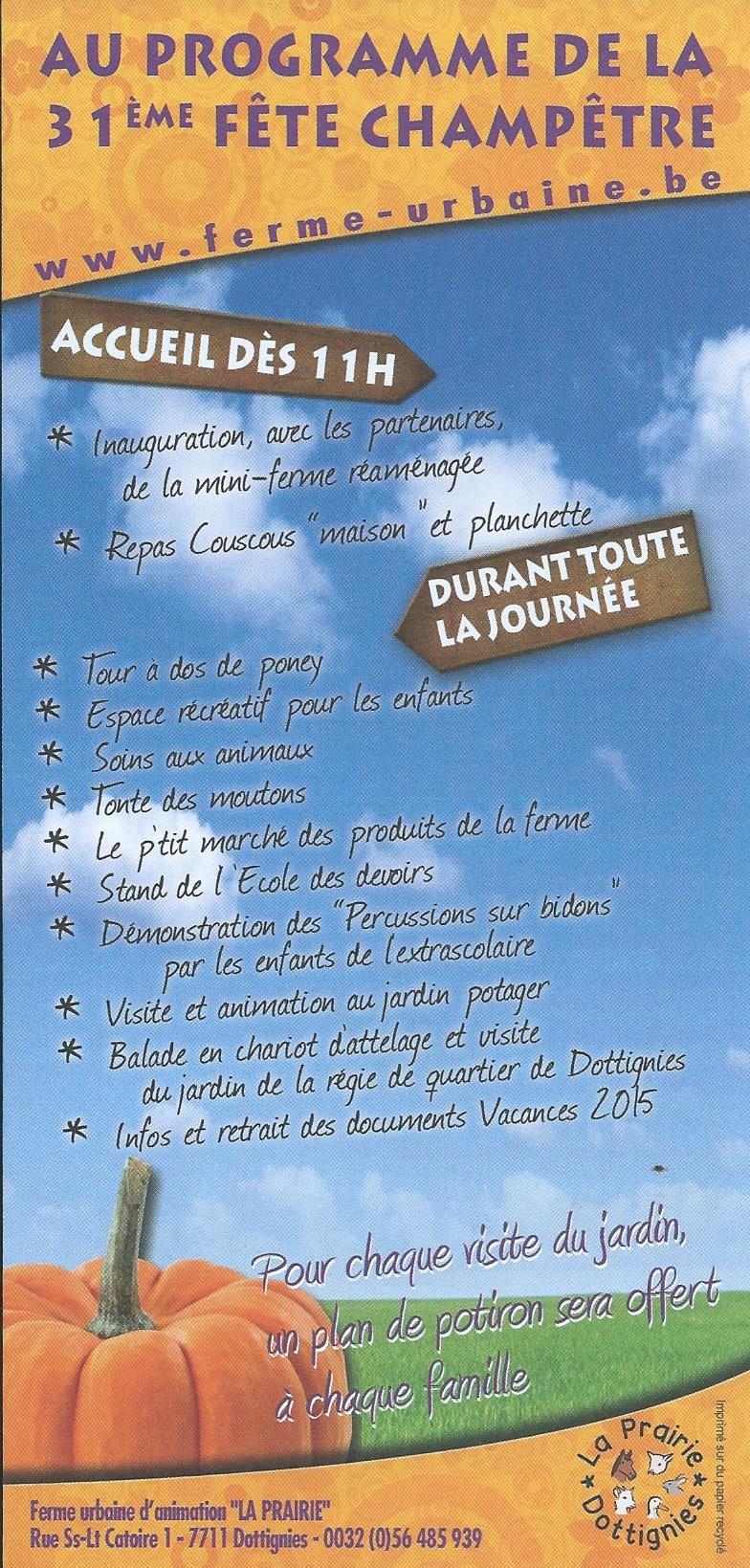 Fête Champêtre de la Prairie 2015 - Programme
