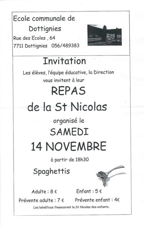 Repas de St-Nicolas de l'Ecole Communale 2015