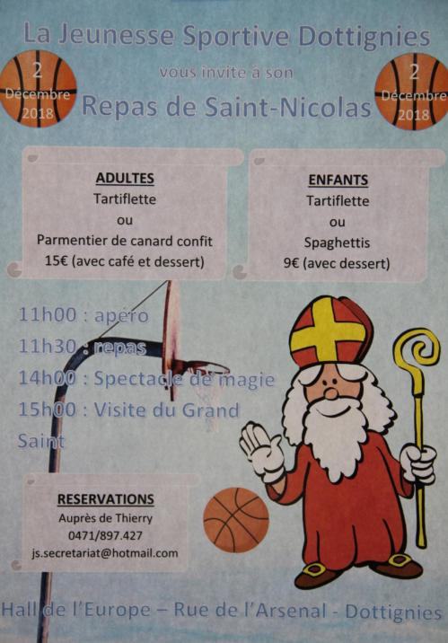 Repas de St-Nicolas Jeunesse Sportive 2018